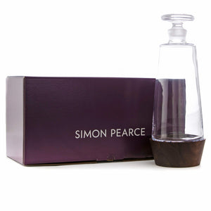 SIMON PEARCE LUDLOW WHISKEY DECANTER WITH WOOD BASE SIMON PEARCE