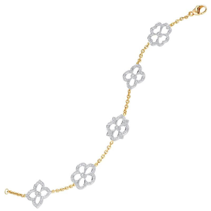 GUMUCHIAN 18K YELLOW & WHITE GOLD DIAMOND MULTI MOTIF BOUTIQUE BRACELET GUMUCHIAN