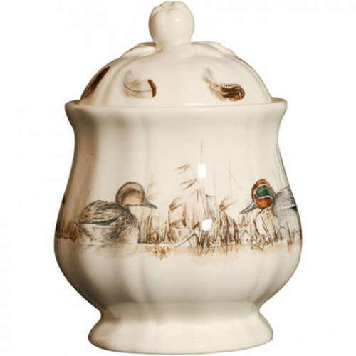 GIEN SOLOGNE DUCK COVERED SUGAR BOWL Gien France