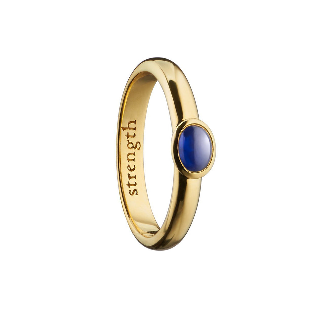 MONICA RICH KOSANN STRENGTH YELLOW GOLD POESY RING WITH OVAL BLUE SAPPHIRE CABACHON