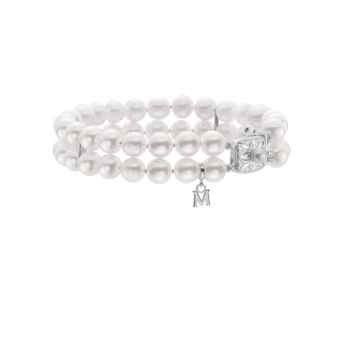 DOUBLE STRAND 7X6.5MM CULTURED PEARL AKOYA BRACELET WITH WHITE GOLD CLASP MIKIMOTO