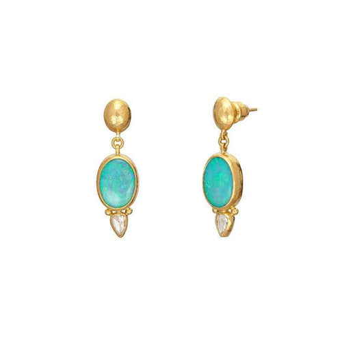 GURHAN AMULET HUE DBL DROP EARRING 24K 14X10MM CABOCHON OPAL 5.22 CTS ROSECUT DIAM.60CT OVAL LENTIL TOP W/POST BACKING 1.39