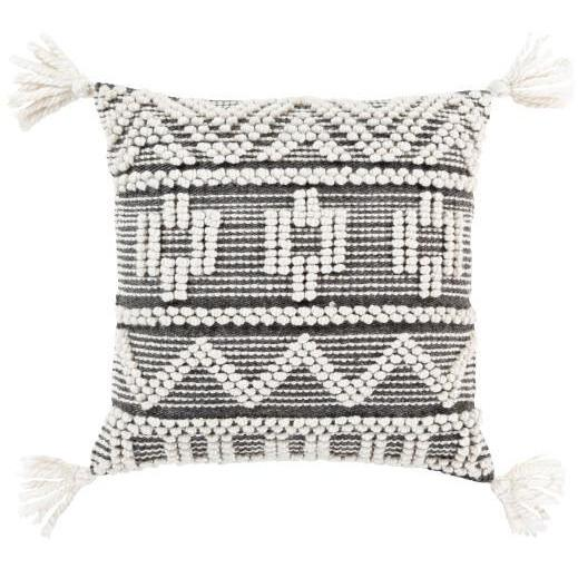 SURYA FAROE PILLOW WITH TASSELS BLACK/IVORY/CREAM 18X18 SURYA