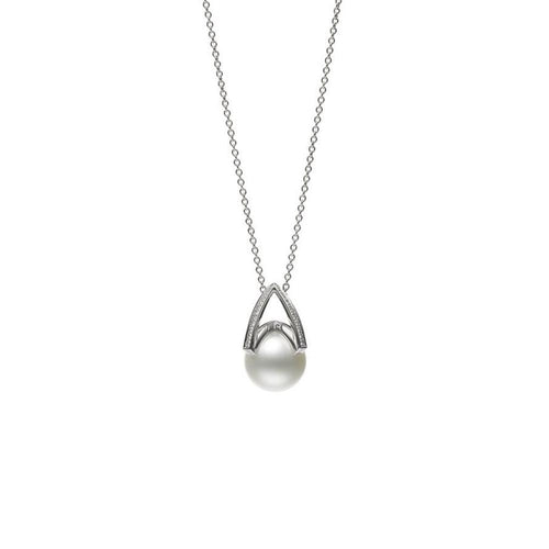 MIKIMOTO PEARL AND DIAMOND NECKLACE 12MM .25CT 18KWG23.5