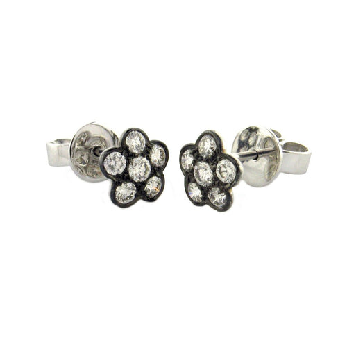 SETHI COUTURE WHITE DIAMOND BLACK RHODIUM FLOWER STUD EARRINGS SETHI COUTURE