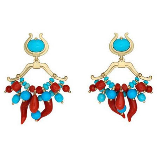 PAUL MORELLI TURQUOISE & CORAL DOUBLE DANGLE EARRING PAUL MORELLI