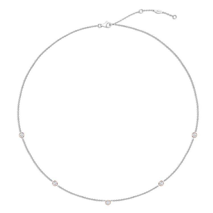 MEMOIRE 18K WHITE GOLD BY THE YARD 5-STONE NECKLACE MEMOIRE