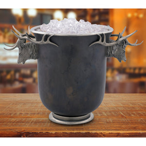 VAGABOND BRONZ ICE BUCKET ELK HEAD