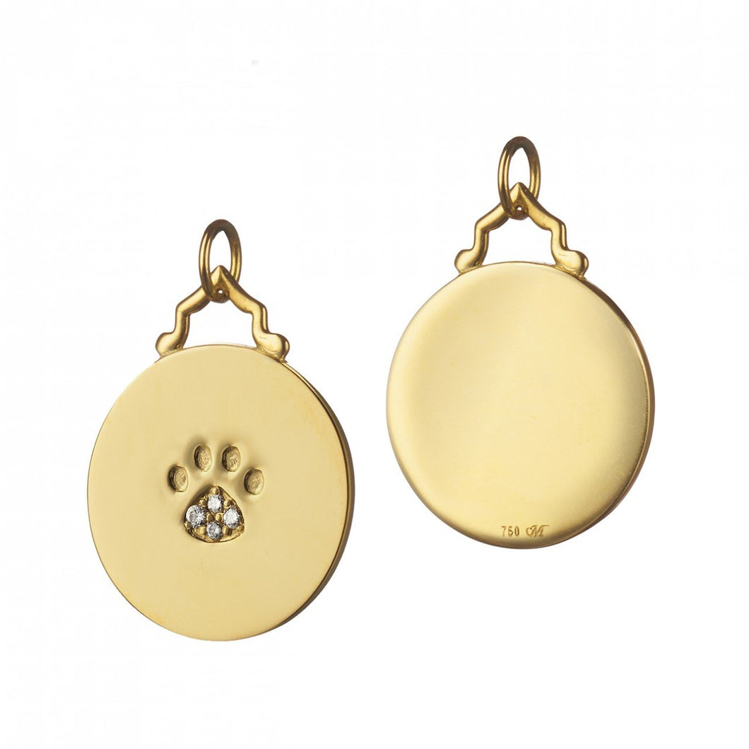MONICA RICH KOSANN YELLOW GOLD PAW PRINT DISC WITH DIAMONDS