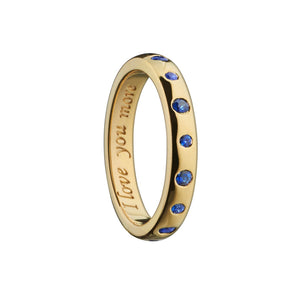 MONICA RICH KOSANN I LOVE YOU MORE YELLOW GOLD POESY RING WITH SAPPHIRES MONICA RICH KOSANN