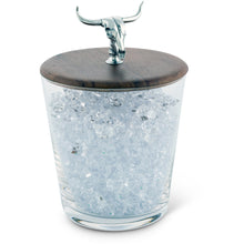 Load image into Gallery viewer, VAGABOND HAND BLOWN GLASS ICE BUCKET W/COW SKULL KNOB