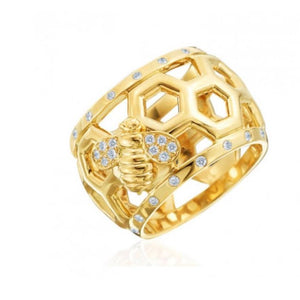 GUMUCHIAN 18K YELLOW GOLD & DIAMOND B DOME RING WITH BEE GUMUCHIAN