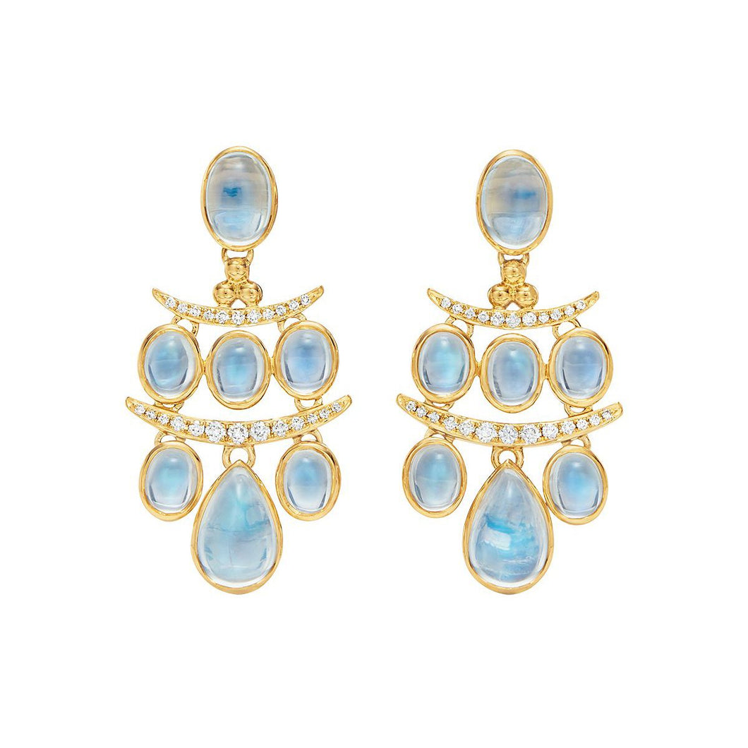 TEMPLE ST CLAIR YELLOW GOLD SMALL SETA MOON DROP EARRING WITH DIAMONDS TEMPLE ST CLAIR