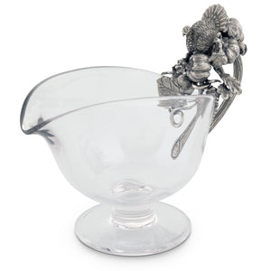 VAGABOND HAND BLOWN GLASS TURKEY BOAT PEWTER HARVEST TURKEY