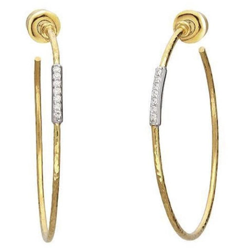 GURHAN GEO HOOP EARRINGS 22K GOLD 1.20MM WHITE DIAMONDS SET ON 18K WHITE GOLD PAVE GURHAN