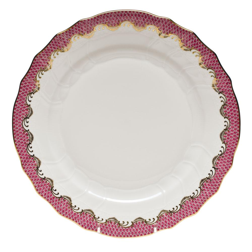 HEREND FISH SCALE RASPBERRY DINNER PLATE HEREND