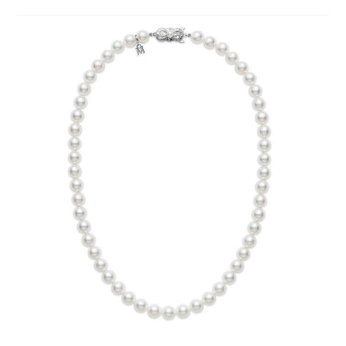 MIKIMOTO PRINCESS PEARL 7.5X7MM NECKLACE WITH 18K WHITE GOLD 18
