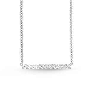 MEMOIRE 18K WHITE GOLD HORIZONTAL BAR NECKLACE MEMOIRE