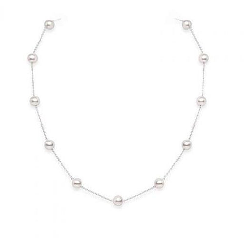 MIKIMOTO CHAIN PEARL NECKLACE 5.5MM 18KWG 18