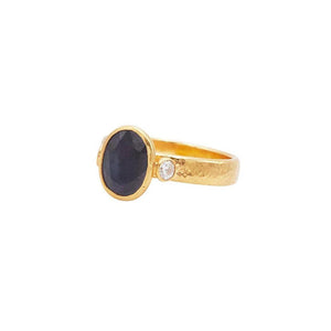 GURHAN RAINBOW CENTER STONE RING 24K 9X7MM FACETED SAPPHIRE CTW 2.90 WH DIAM CTW .22 22K 4MM SOLID SHANK SZ 7 GURHAN