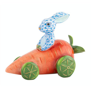 HEREND CARROT CAR WITH BLUE BUNNY HEREND
