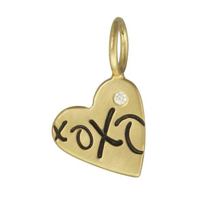 HEATHER B. MOORE YELLOW GOLD XOXO HEART CHARM WITH DIAMOND