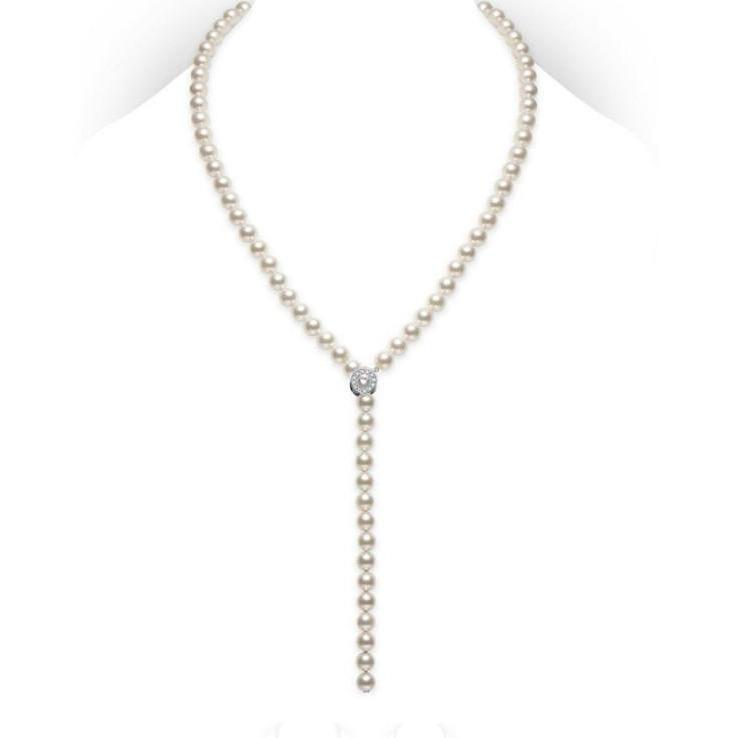AKOYA LARIAT STRAND NECKLACE - 7.5X7MM A D-.24CT 18K WHITE GOLD 22