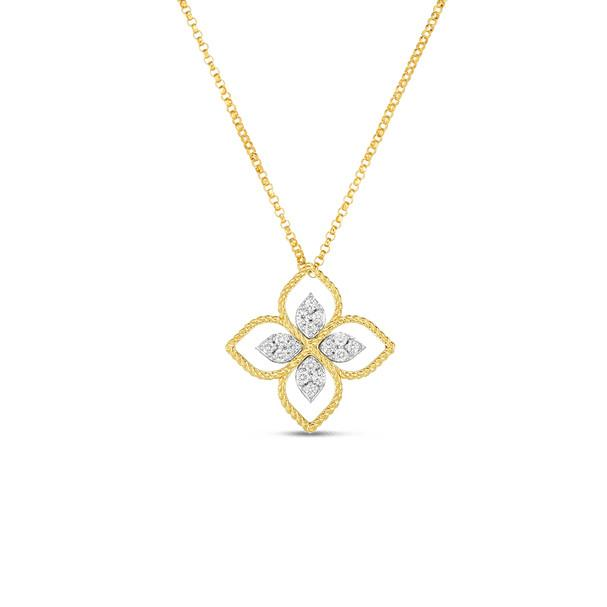 ROBERTO COIN YELLOW GOLD DIAMOND PRINCIPESSA FLOWER NECKLACE ROBERTO COIN