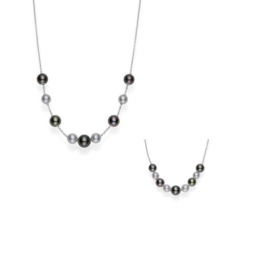 MIKIMOTO MULTI-COLORED BLACK SOUTH SEA 8-10MM & AKOYA 7.5-8MM PEARL NECKLACE WITH 18K WHITE GOLD 23.5