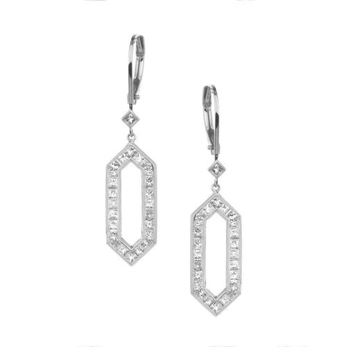 SETHI COUTURE WHITE PRINCESS CUT DIAMOND HEXAGON DROP EARRINGS IN WHITE GOLD SETHI COUTURE