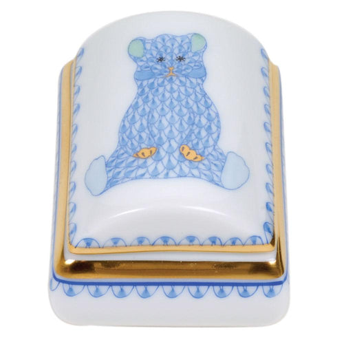 HEREND TOOTH FAIRY BOX BLUE HEREND