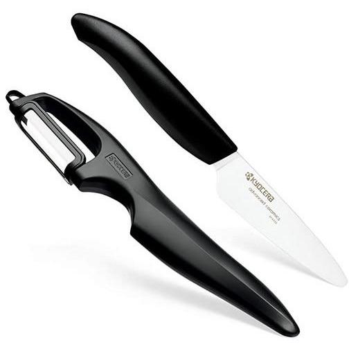 KYOCERA CERAMIC PAIRING KNIFE BLACK AND VERTICAL DOUBLE EDGE PEELER KYOCERA
