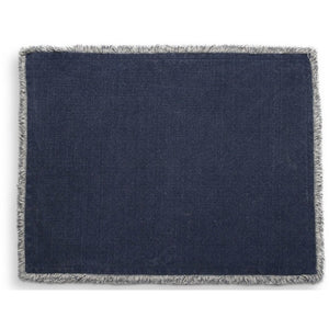 TAG CROSBY WASHED FRINGE PLACEMAT BLUE TAG