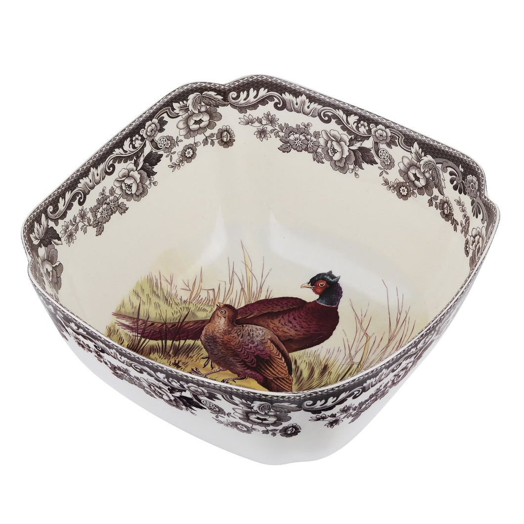 SPODE WOODLAND SERVING BOWL SQUARE PHEASANT 9.5