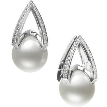 M COLLECTION WHITE SOUTH SEA PEARL AND DIAMOND EARRINGS - 11MM A+ .30CT 18K WHITE GOLD MIKIMOTO