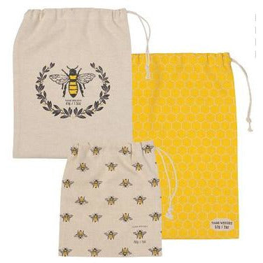 NOW DESIGNS BUSY BEE PRODUCE BAG SET/3 NOW DESIGNS
