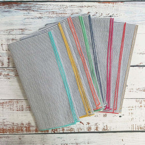 DOT & ARMY GREY SEERSUCKER CLOTH NAPKINS WITH COLORFUL EDGES