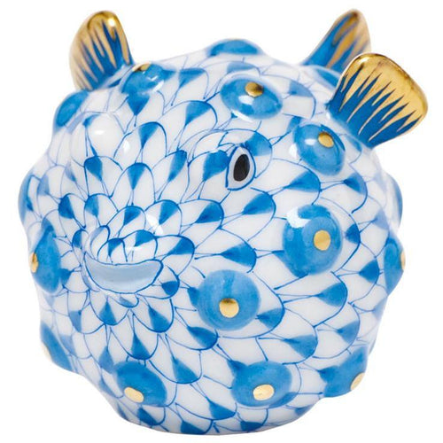 HEREND PUFFER FISH BLUE HEREND