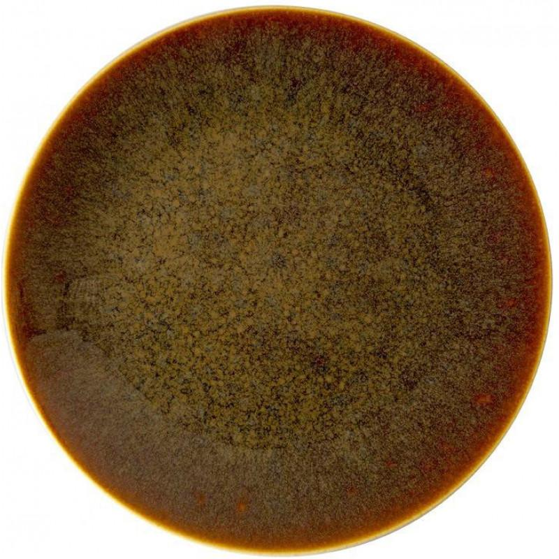 ROYAL CROWN DERBY ART GLAZE CARAMEL ROUND PLATTER 13.5