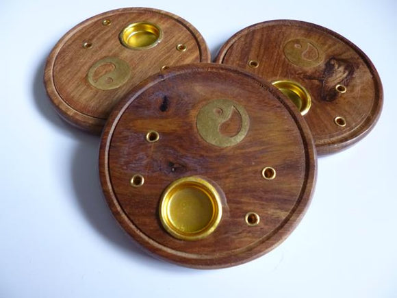 Round Wood Incense Holder