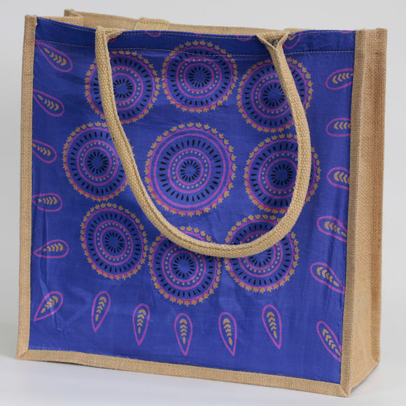 Large Blue Alpana Shopping Bag