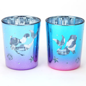 Set of 2 Mermaid Glass Tea Light Holders