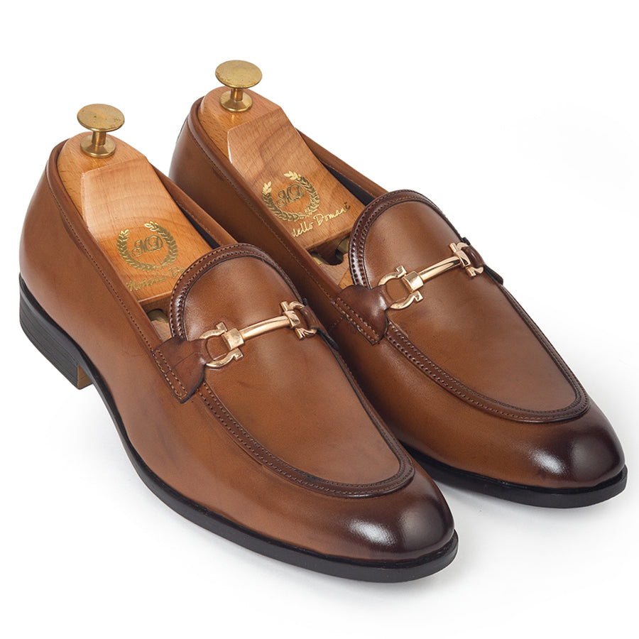 Italian Cut Horsebit Buckle Slipons (Tan)