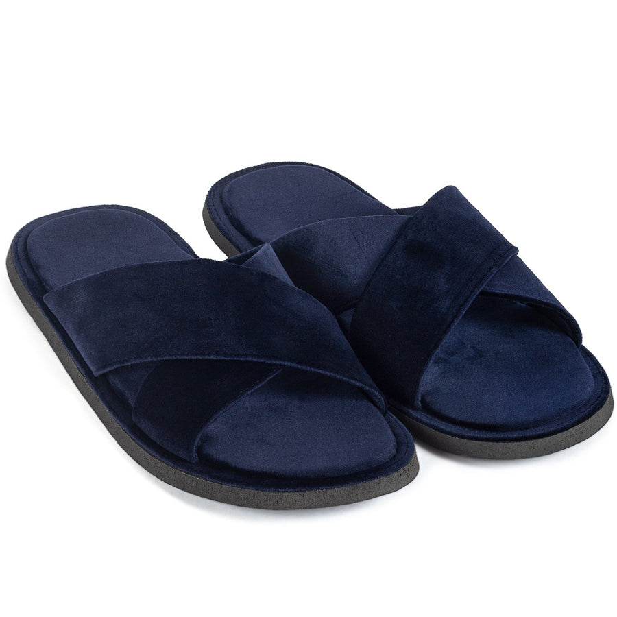 New Roman Velvet Slippers (Navy)