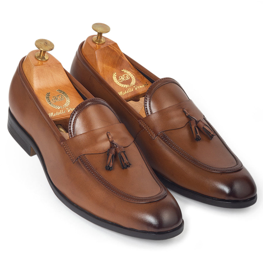 Italian Cut Tassel Penny Slipons (Tan)