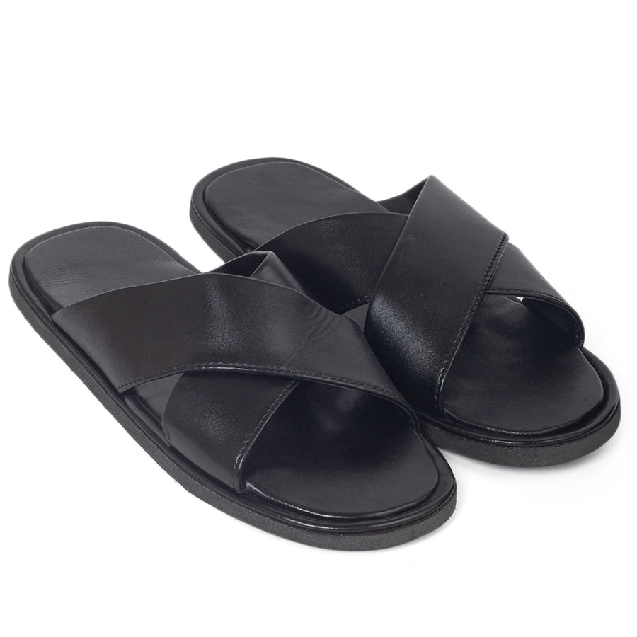 New Roman Leather Domani Slippers© (Black)