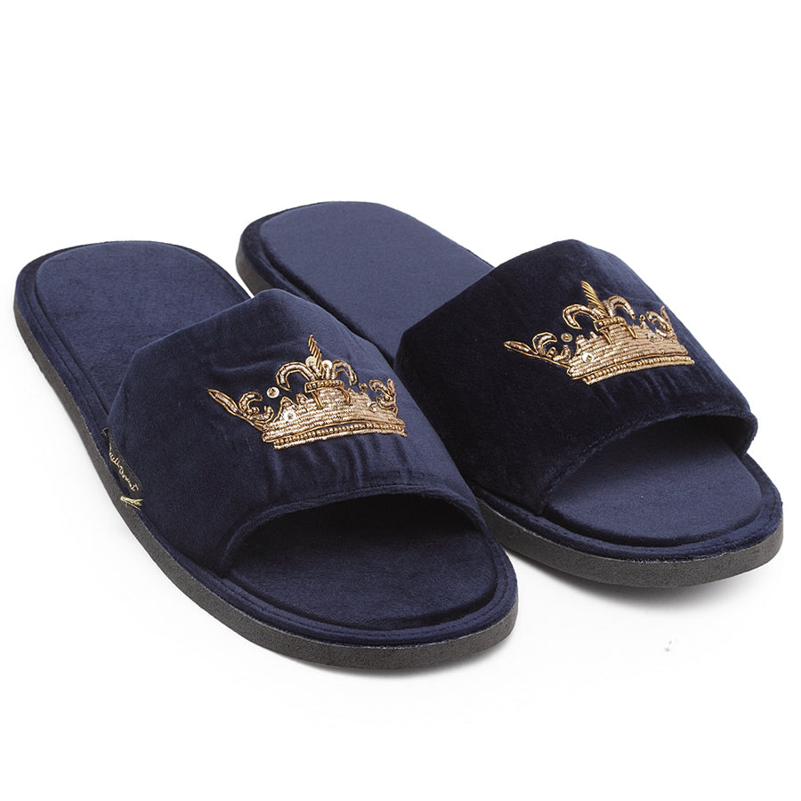Roman Crown Slippers (Navy)
