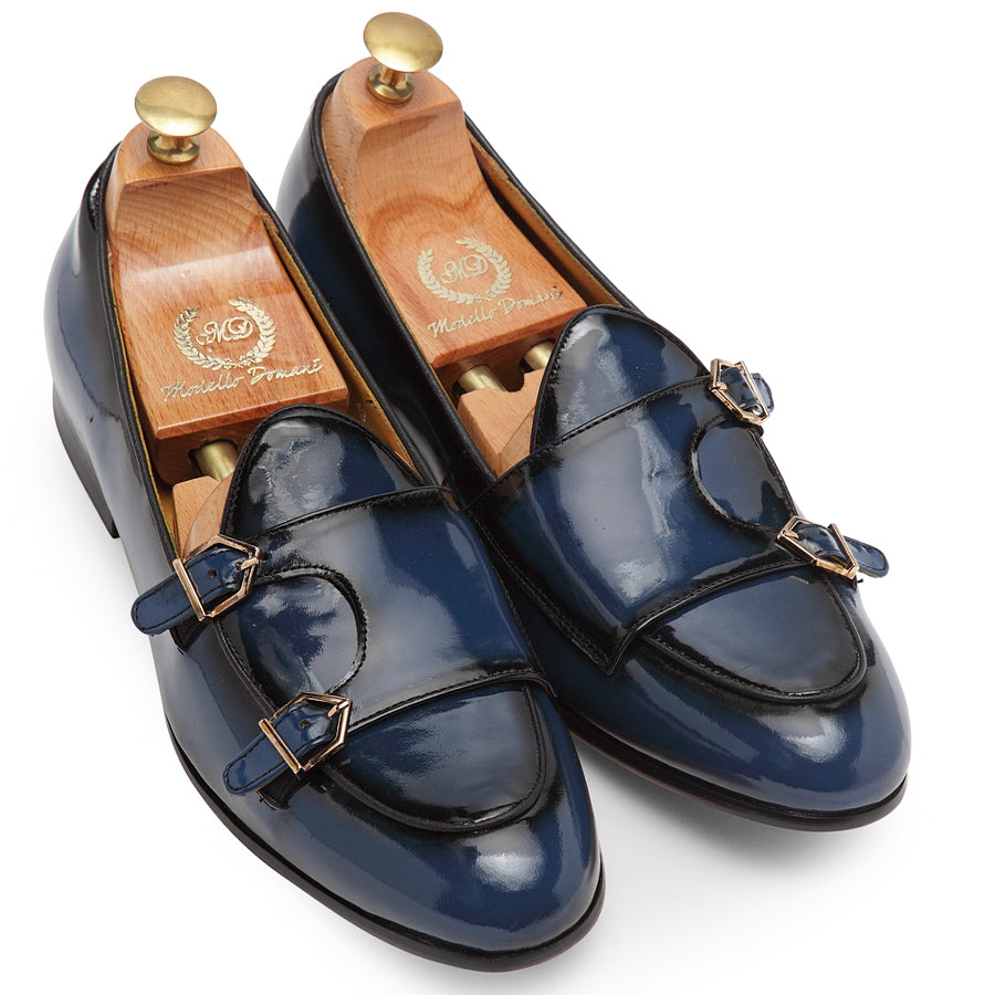 Low Cut Dual Monkstraps (Navy-Black Burnish)