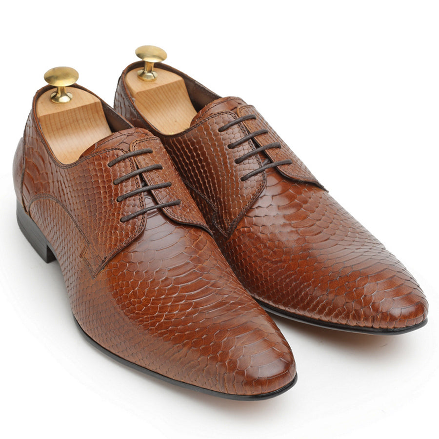 Python Snake Cut Leather Oxfords (Limited Edition Tan)