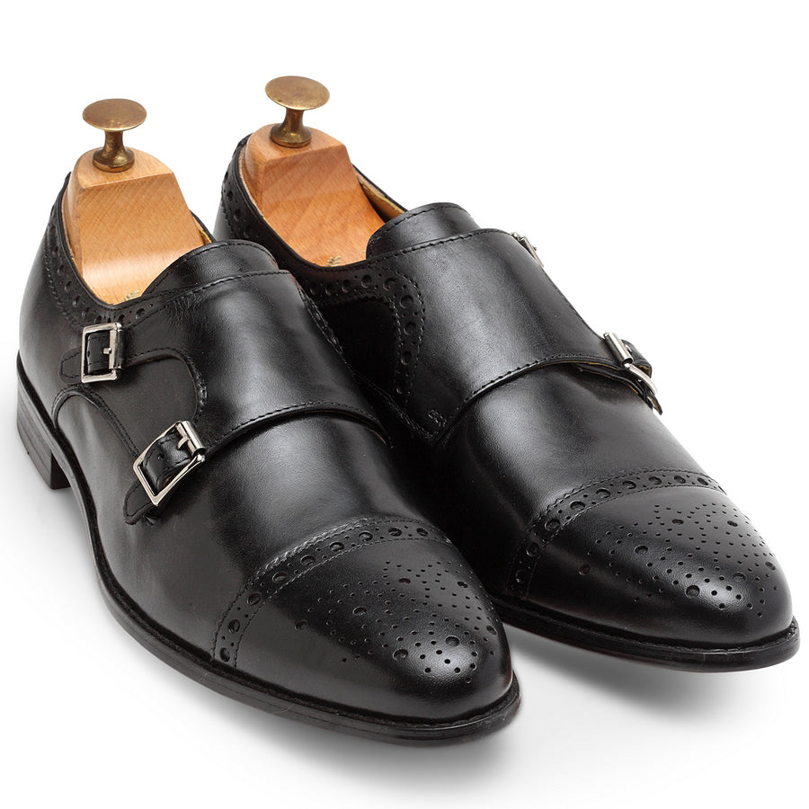 Italia Leather Double Monk Brogues (Black)